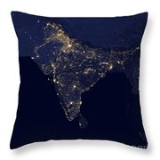 India At Night Satellite Image Throw Pillow