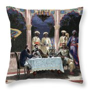 India  British Colonial Era  Banquet At The Palace Of Rais In Mynere Throw Pillow