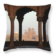 India, View Of Red Fort From Jama Throw Pillow