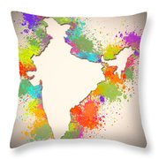 India Watercolor Map Painting Throw Pillow