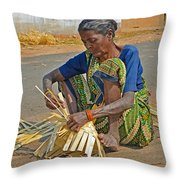 Indian Aged Woman Working Throw Pillow