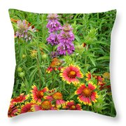 Indian Blankets And Lemon Horsemint Throw Pillow