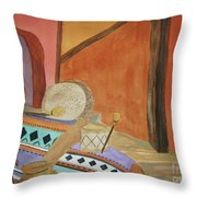 Indian Blankets Jars And Drums Throw Pillow
