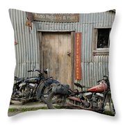 Indian Chout And Chief Bobber At The Old Okains Bay Garage Throw Pillow