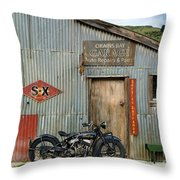 Indian Chout At The Old Okains Bay Garage 1 Throw Pillow