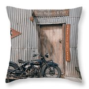 Indian Chout At The Old Okains Bay Garage 3 Throw Pillow