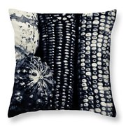 Indian Corn And Squash In Black And White Throw Pillow