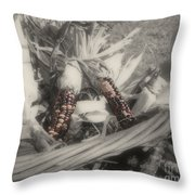 Indian Corn In Basket Partial Color Throw Pillow