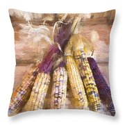 Indian Corn Painterly Effect Throw Pillow