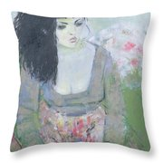 Indian Earring Dark-haired Girl In Green Oil On Canvas Throw Pillow
