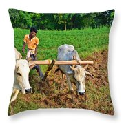 Indian Farmer Plowing With Bulls Throw Pillow