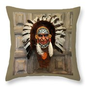Indian Headdress In  Brown Throw Pillow