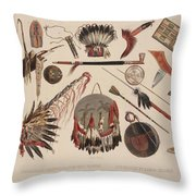 Indian Implements And Arms Throw Pillow