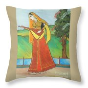Indian Lady Playing Ancient Musical Instrument Throw Pillow