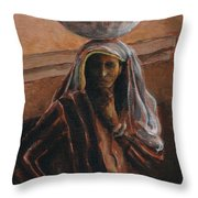 Indian Lady With Bowl Throw Pillow