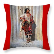 Indian Maid At Stockade By Charles Marion Russell Throw Pillow