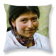 Indian Maid Throw Pillow