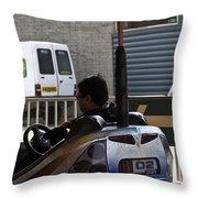 Indian Man Enjoying In A Bumper Cars Ride In An Entertainment Park Throw Pillow