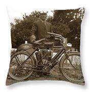 Indian Camelback Motorcycle Circa 1908 Throw Pillow