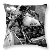 Indian Motorcycle In French Quarter-bw Throw Pillow