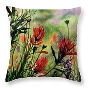 Indian Paint Brush Throw Pillow