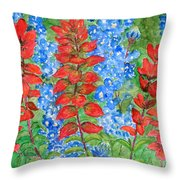 Indian Paintbrush And Bluebonnets Throw Pillow