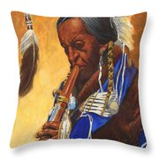 Indian Playing Flute Throw Pillow