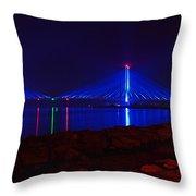 Indian River Inlet Bridge After Dark Throw Pillow