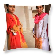 Indian Sewing Students Throw Pillow