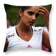 Indian Tennis Player Sania Mirza Throw Pillow by Nishanth Gopinathan