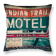 Indian Trail Motel Throw Pillow