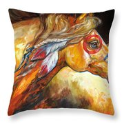 Indian War Horse Golden Sun Throw Pillow