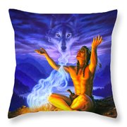Indian Wolf Spirit Throw Pillow