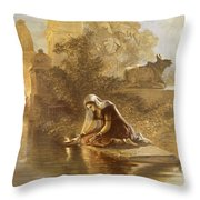 Indian Woman Floating Lamps Throw Pillow
