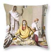 Indian Woman In Her Finery, With Guests Throw Pillow