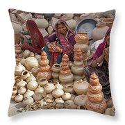 Indian Women Selling Pottery Throw Pillow