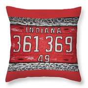 Indiana 1949 License Platee Throw Pillow