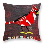 Indiana Cardinal Bird Recycled Vintage License Plate Art Throw Pillow