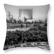 Indiana - Downtown From Across White River Panoramic Throw Pillow