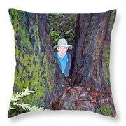 Indiana Jones In Armstrong Redwoods State Preserve Near Guerneville-ca Throw Pillow
