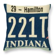 Indiana License Plate Throw Pillow