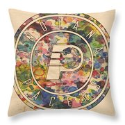 Indiana Pacers Logo Vintage Throw Pillow