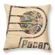 Indiana Pacers Poster Art Throw Pillow
