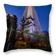 Indiana - Soldiers And Sailers Monument With Lights Throw Pillow