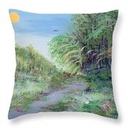 Indiana Spring Afternoon By The Creek Throw Pillow