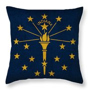 Indiana State Flag Art On Worn Canvas Throw Pillow
