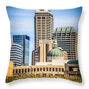 Indianapolis Cityscape Downtown City Buildings Throw Pillow by Paul Velgos
