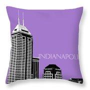Indianapolis Indiana Skyline - Violet Throw Pillow