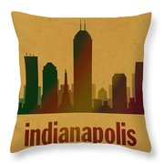 Indianapolis Skyline Watercolor On Parchment Throw Pillow