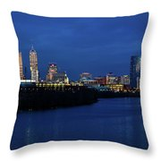 Indianapolis State Capitol And Skyline Throw Pillow